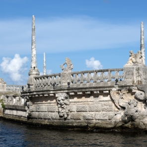 Stone breakwater barge at the Vizcaya Museum and Gardens on Biscayne Bay in the present day Coconut Grove neighborhood of Miami, Florida.