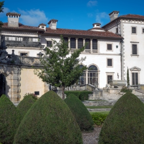 Vizcaya Museum and Gardens, is the former villa and estate of businessman James Deering, on Biscayne Bay in the present day Coconut Grove neighborhood of Miami, Florida.